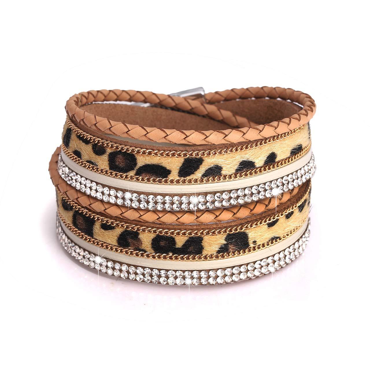 PHALIN Multi Strand Bracelets for Women Wide Leopard Horsehair Cuff Bangle Bracelets for Girls (A Light Brown) by PHALIN