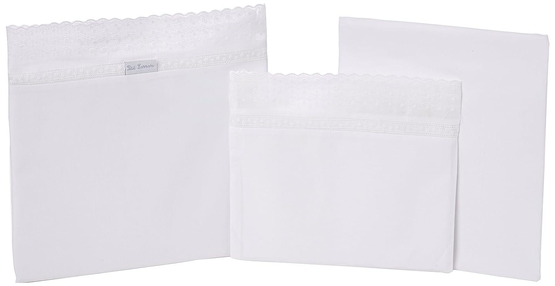 Petit Lazzari Abril - Juego de 3 sábanas para capazo, cuco o moisés, 35x75 cm, color blanco Lazzari Textil S.L.