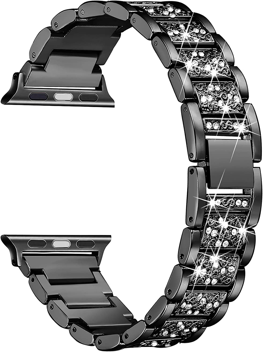 Secbolt Bling Bands Compatible with Apple Watch Band 42mm 44mm Women iWatch SE Series 6/5/4/3/2/1, Dressy Jewelry Metal Bracelet with Rhinestones, Black