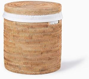 VBLab Fano Handmade Woven Rattan Storage Basket Rattan Hamper (Storage Basket- Medium)