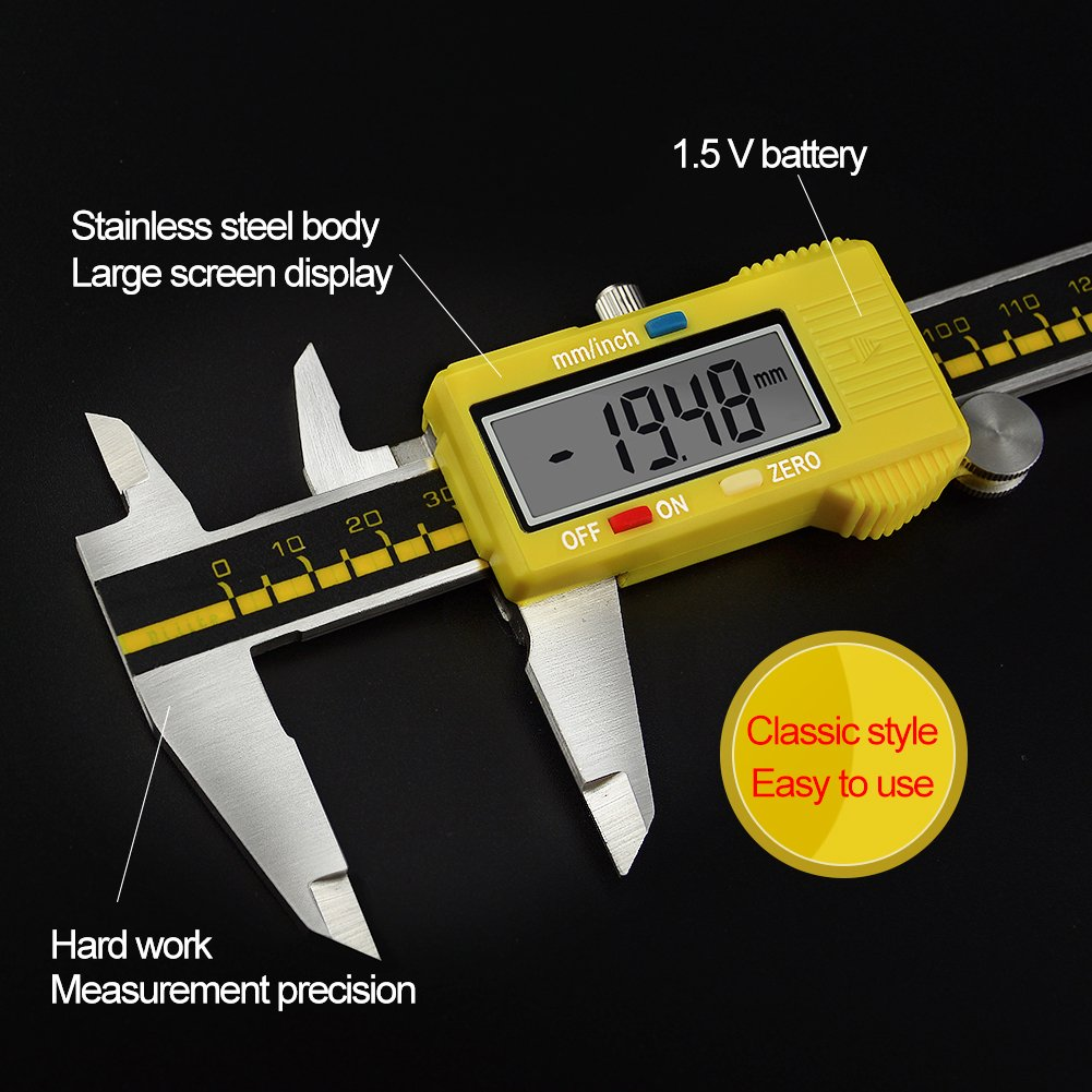 Digital Caliper Stainless Steel Body Electronic Gauge Vernier with LCD Screen High Precision 150mm/6inch Measuring Tool Inch/Metric Conversion (Yellow) by pcmos (Image #5)
