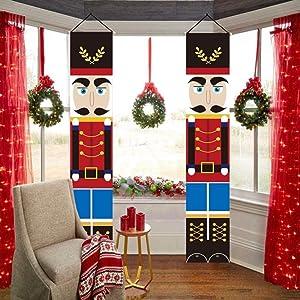 Forart Nutcrackers Christmas Decorations Outdoor Xmas Decor Christmas Porch Sign Soldier Model Nutcracker Banners Christmas Nutcrackers for Home Decoration