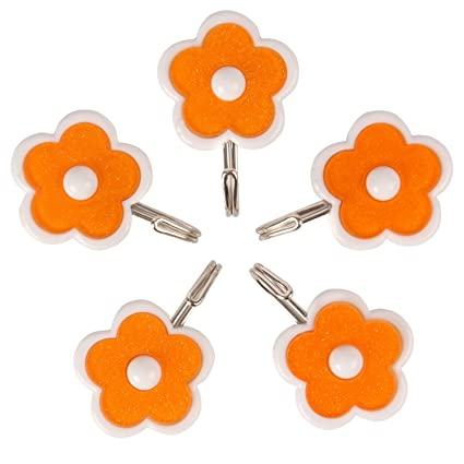 HOKIPO Flower Design Self Adhesive Hooks ,Multicolor , Plastic (Set Of 5)