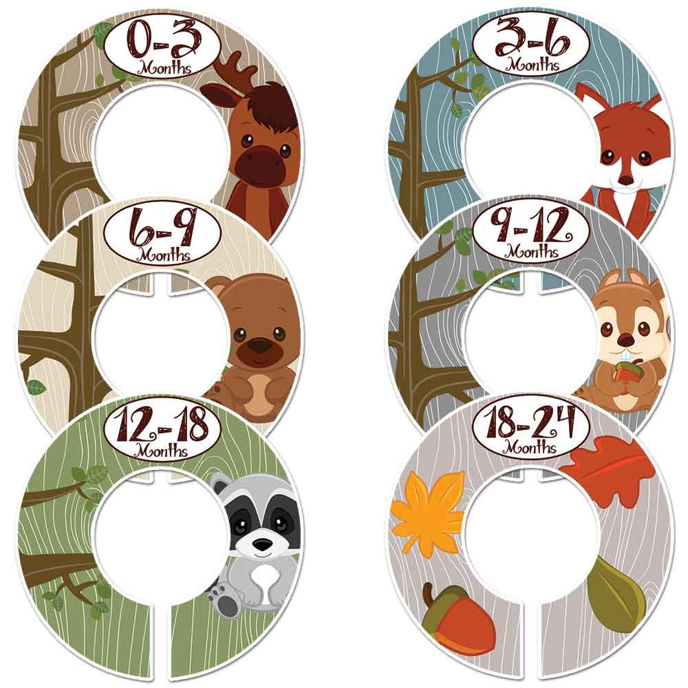 Closet Doodles C2 Woodland Animals Baby Clothing Dividers Set of 6 Fits 1.25 inch Rod