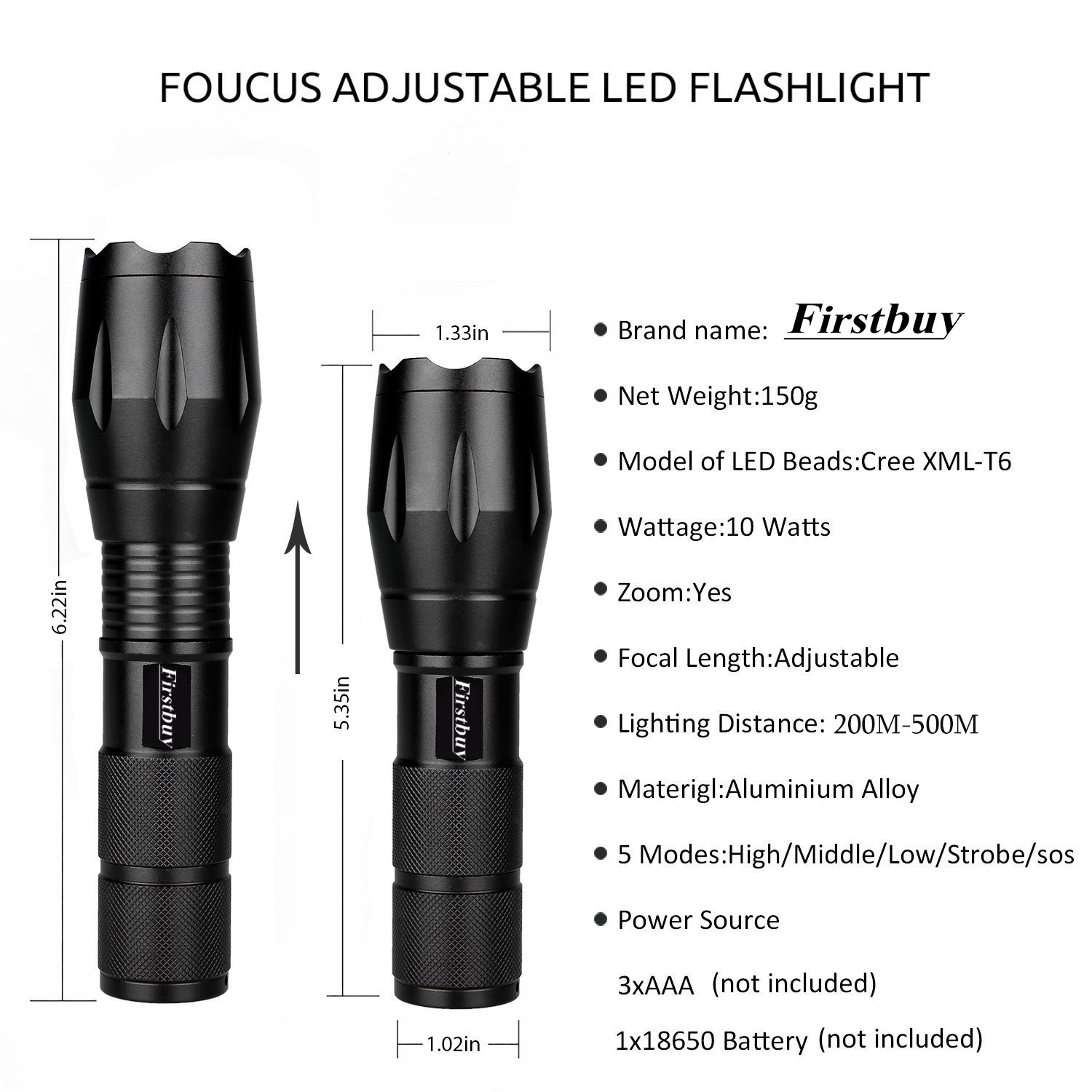 Firstbuy Led Flashlight 1000 Lumen A100 Cree Tactical LED Handheld Flashlight,5 Modes Brightest Tactical Flashlights Zoomable Adjustable Focus With Key Chain Flashlight,Water Resistant for Outdoors