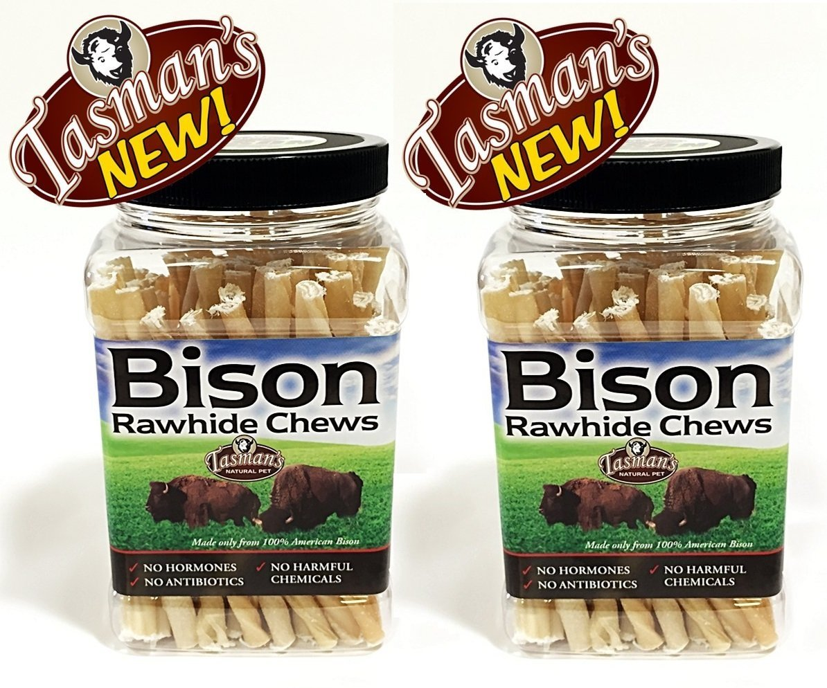 (2 Pack) Tasman's Natural Pet Small Bison Twisters 75 Pack Jar