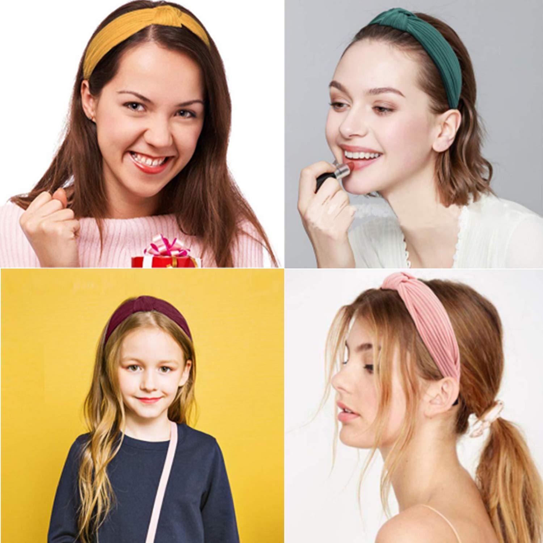 Flower Elastic Twisted Turban Hair Band Knotted Headband Yoga Head Wrap ZP