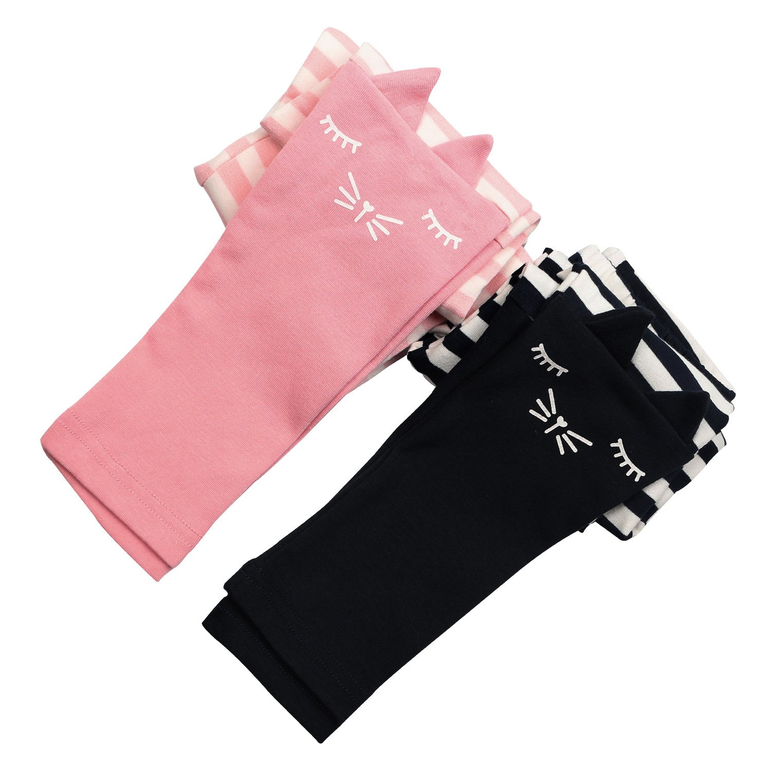 2 Pack Girls Pants Baby Toddler Girl Legging Cute Cat Striped Spliced Kids Pant Cotton Blended 5T by BOOPH (Image #4)