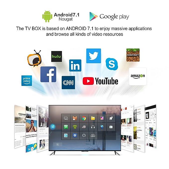 [3GB DDRIII & 32GB EMMC] TICTID X9T PRO Android 7 1 TV Box Amlogic S912  Octa-Core Smart TV Box with 2 4G/5 8G Dual Band WiFi 1000M LAN Port  Bluetooth