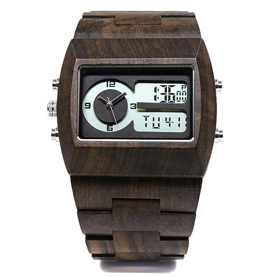 Bewell - Reloj Casual Relojes de madera para hombres doble movimiento cuarzo Digital pantalla retroiluminación LED reloj de pulsera w021 a: Arthur: ...