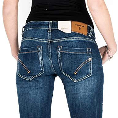 b7b6bcd45db JEANS DONNA DONDUP BLUE DENIM ZAMPA PANTALONE BIANCA P688 800 MADE IN ITALY  Size   32  Amazon.de  Bekleidung