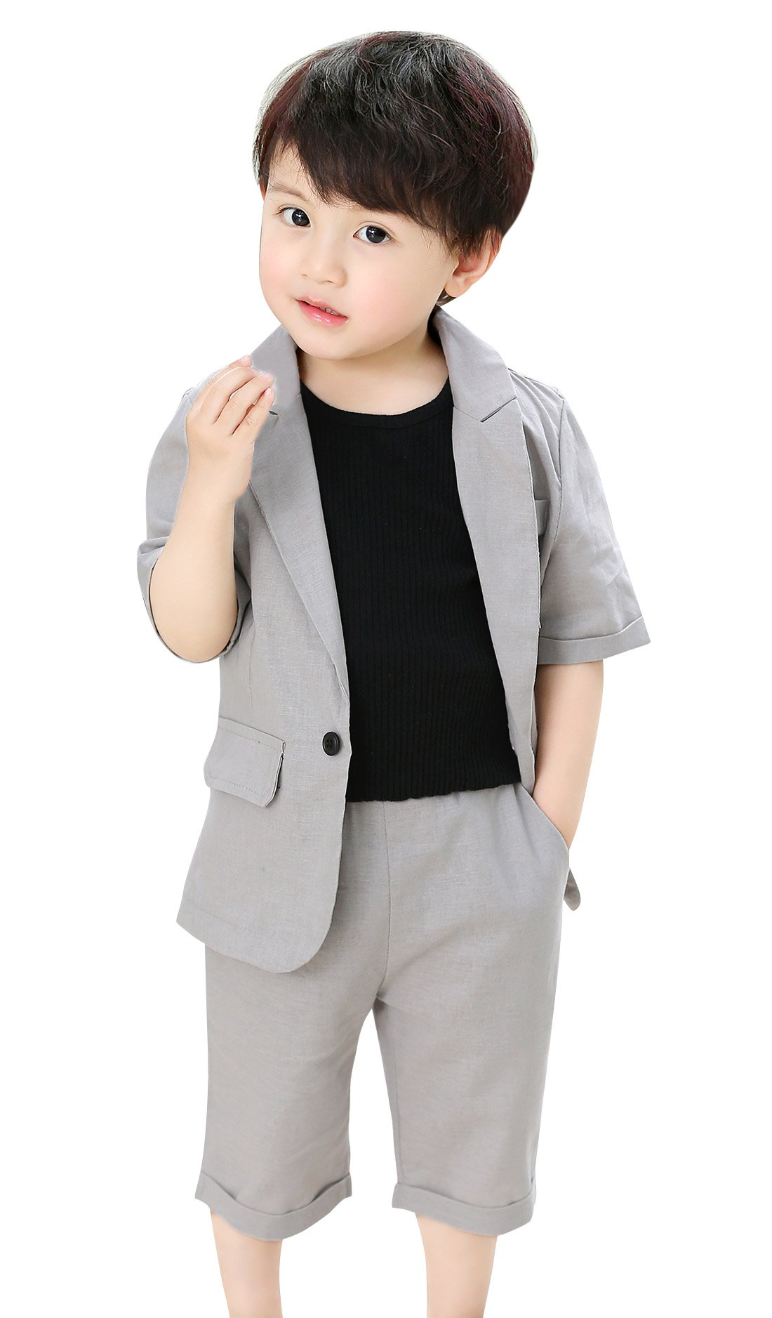 Little Boys Suits Set 2 Pieces Summer Suit Jacket Shorts Short Sleeve Wedding Outfit Slim Fit Grey 6