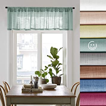 Sheer Valances Rod Pocket Blue Haze Window Curtain Valance for Bedroom 16  inches Long Living Room Linen Textured Valance Curtains 1 Panel