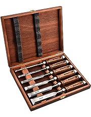EZARC 6pc Wood Chisel Set for Woodworking - CRV Steel with Black Walnut Handle in Wood Storage Box
