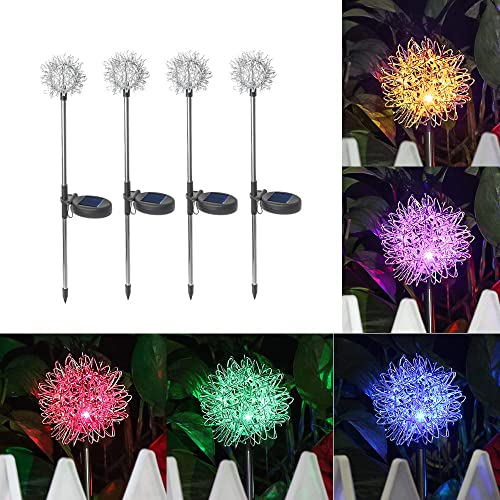 Solar Color Changing Lights Dandelion Flower Waterproof Outdoor Garden Stake Solar Powered LED Lights Landscape Lighting for Garden Patio Backyard Pathway Decoration 4pcs