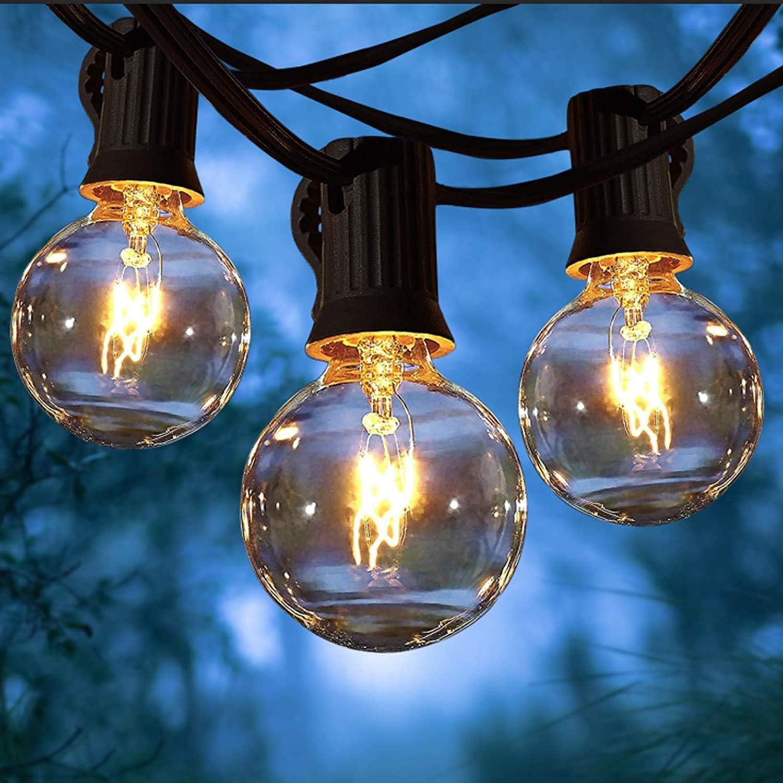 Boda Partido Guirnaldas Luces Perefcto Para Patio Jard/ín 15M Impermeable Jard/ín Cadena de Luces con 25+2 G40 Bombillas Perfecto Yuusei Guirnaldas Luminosas de Exterior