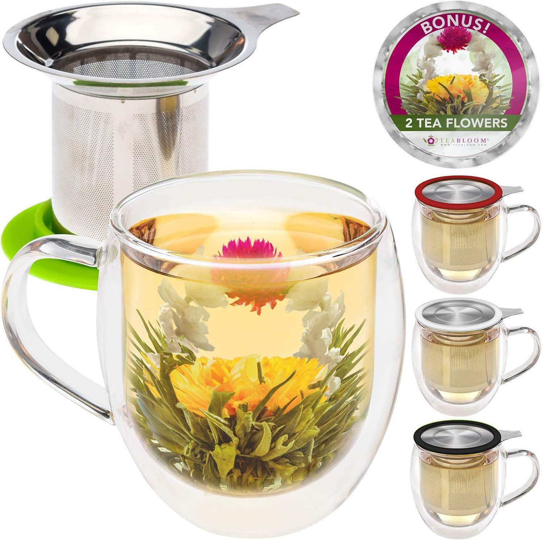 Teabloom Double Wall Glass Mug with Infuser & Lid +2 Gourmet Tea Flowers - 15 oz Tea Mug - Lid Doubles as Coaster – Adorable Gift Set for Tea Lovers