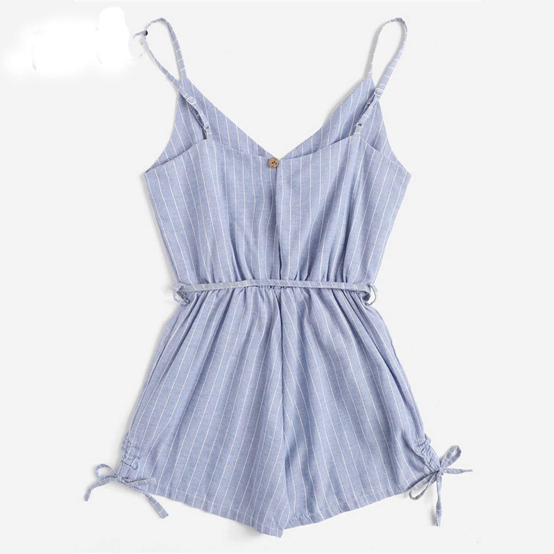 SuWuan jumpsuit Grey Drawstring Mid Waist Knot Button Detail Striped Romper Woman Beach Strap Wide Leg Playsuits