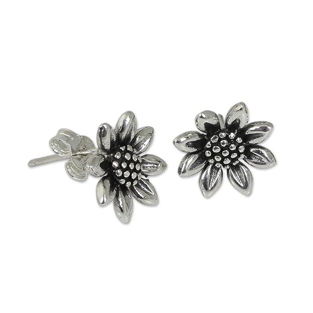 Novica Sterling silver stud earrings, Silver Love