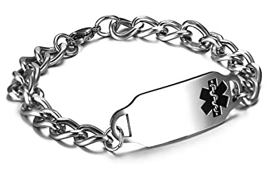 coupon de réduction bébé Chaussures 2018 JF.JEWELRY Stainless Steel Medical Alert ID Bracelet for Women and Men-8  inches,Free Engraving