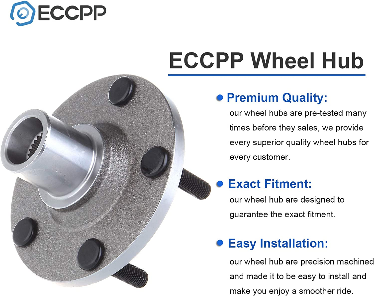 ECCPP Wheel Hub and Bearing Assembly Front 518515 fit 2001-2012 Ford Escape Mazda Tribute Mercury Mariner Replacement for 5 lugs wheel hubs no ABS 2Pcs