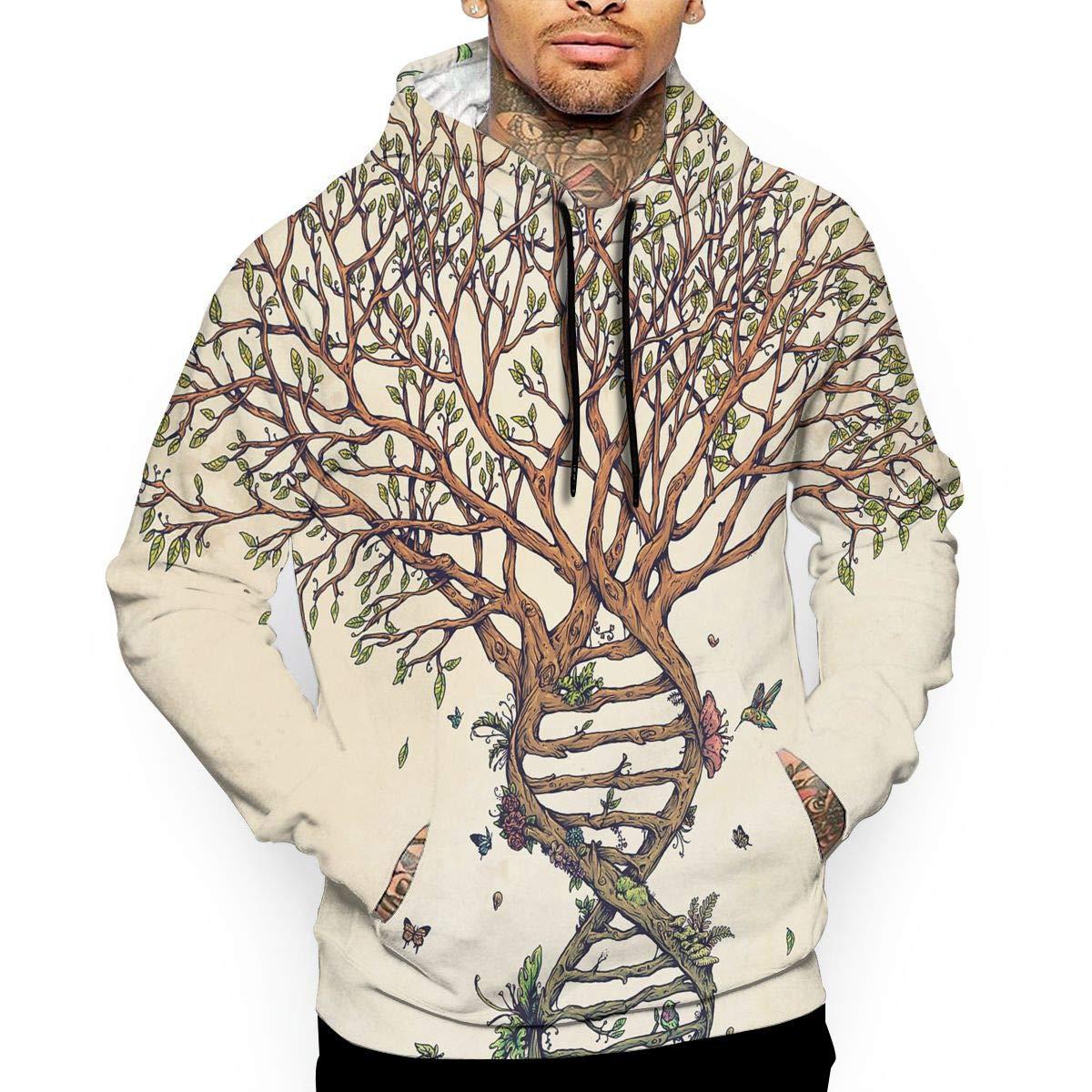 YUANSHAN Tree of Life Mans Long Sleeve Hoodie Casual Pocket Hooded Sweatshirt