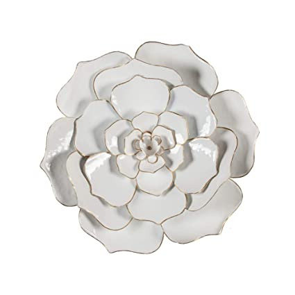0b19c5e4ed Image Unavailable. Image not available for. Color: White Metal Flowered Wall  Art 3D Hanging Flower Sculpture Metallic Gold ...
