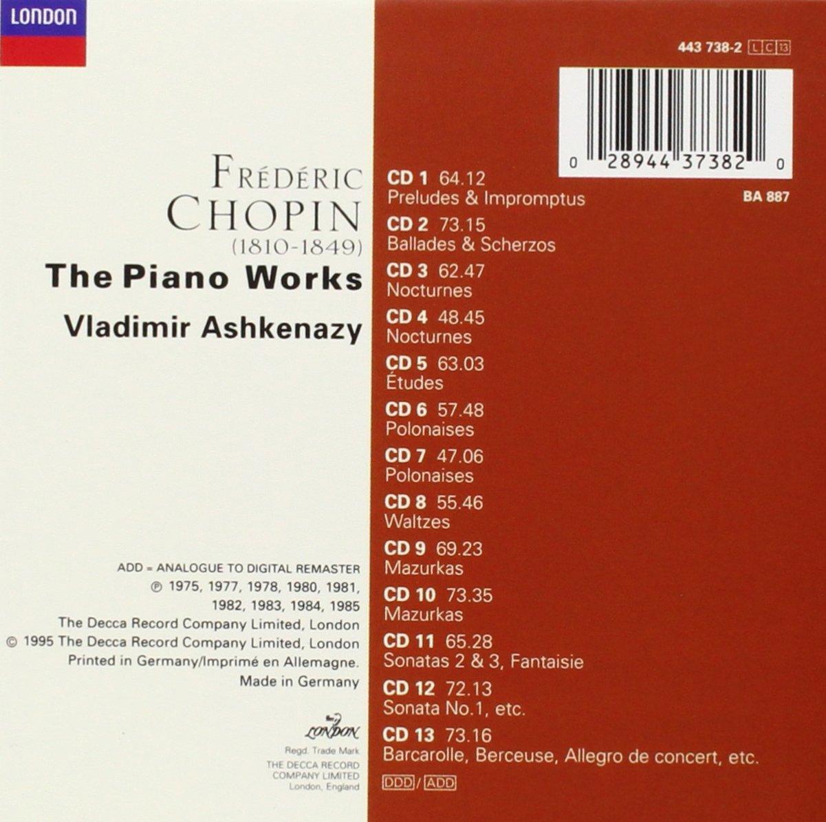 Frederic Chopin Vladimir Ashkenazy Chopin The Piano Works