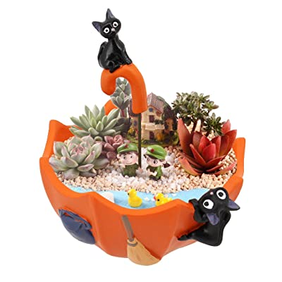 Segreto Creative Umbrella Plants Pots Brush Pots Planter for Flower Sedum Succulent Plants Desk Garden Room Pot Decor(Black Cat): Garden & Outdoor