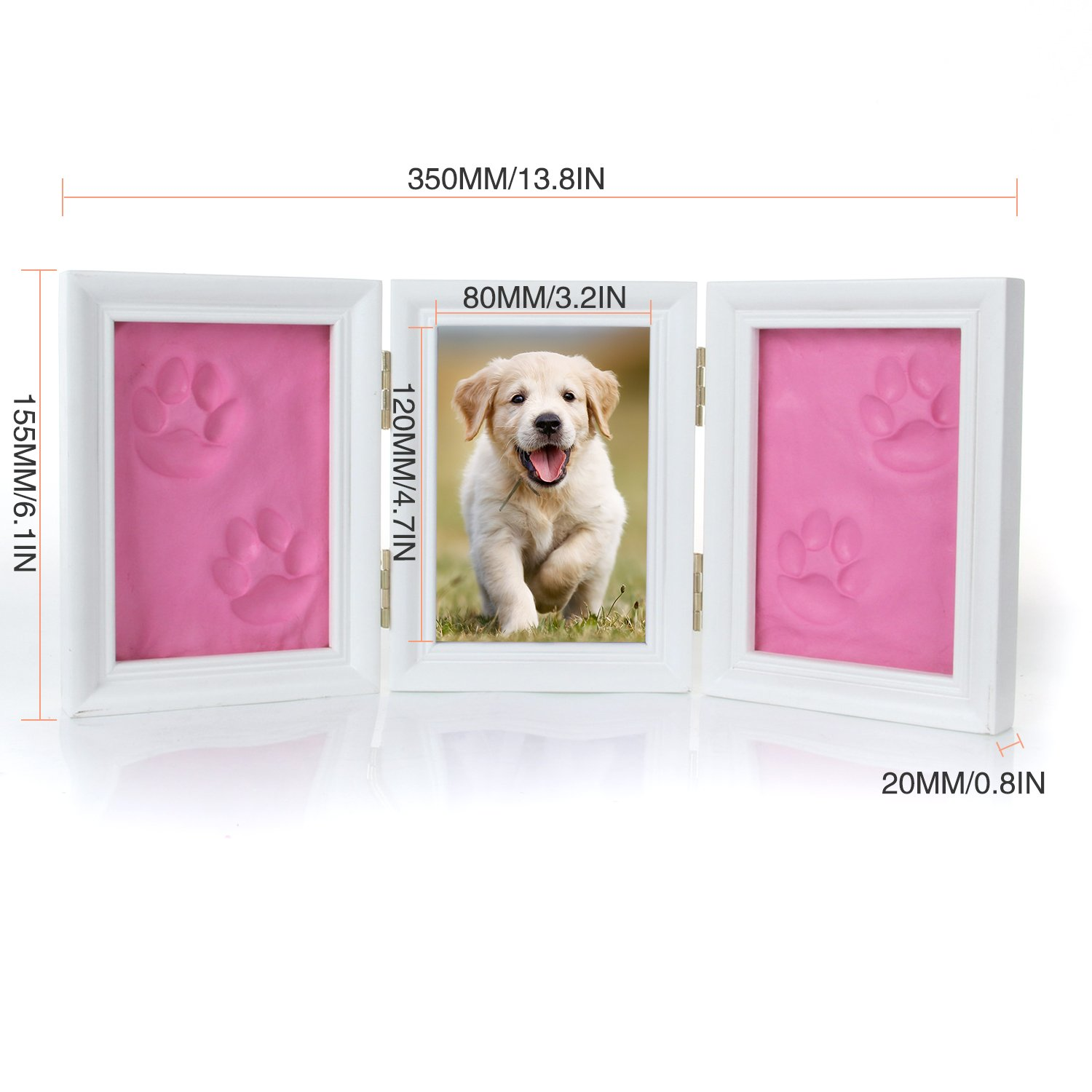 e87e181798c1 Pet Memorial Frames Cat or Dog Paw Print Keepsake Triple Folding Photo Frame  with Clay Imprint Kit(Blue): Amazon.ca: Pet Supplies