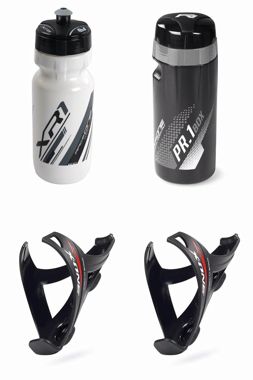 RaceOne.it - KIT MATT Race - 4 PCS - Bidon Porte-bidon de Vélo. Bidon Porte Outils Kit de Réparation. Bouteille d'eau avec support pour Cyclisme VTT/ Vélo de Route / MTB / Gravel Bike. Bottle XR1 + 2 Bottle Cage X3 + ToolBox Pr1 /600 CC Cad. Coleur: Blanc
