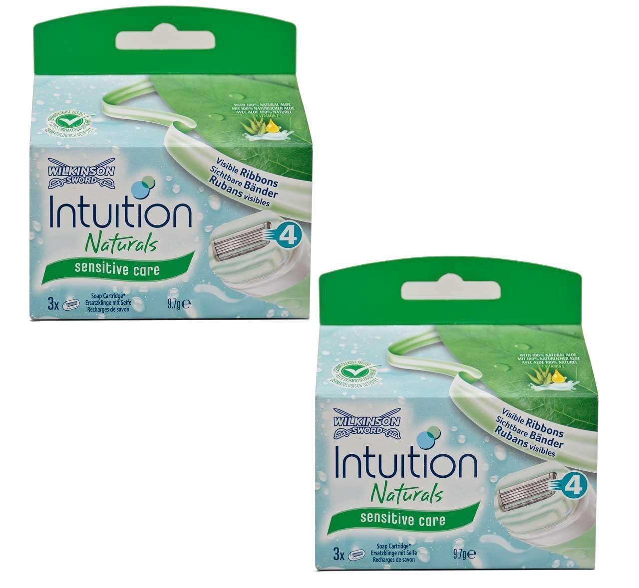 2x Wilkinson Intuition Naturals Sensitiv Care 3cuchillas de afeitar con jabón y Aloe Wilkinson Sword