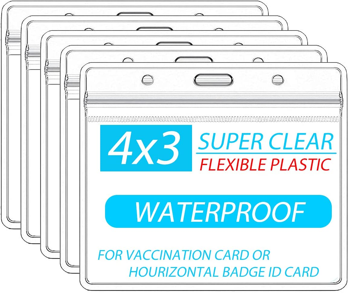 5 Pack CDC Vaccination Card Protector 4 X 3 Inches Immunization Record Vaccine Cards Holder Clear Vinyl Plastic Sleeve with Waterproof Type Resealable Zip with Holes for Lanyards Clips