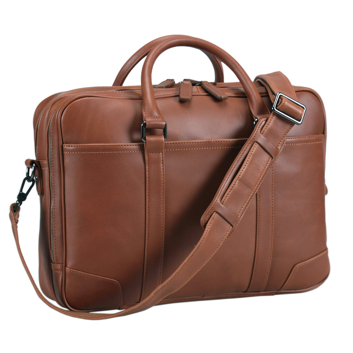 Polare Soft Real Leather Double zipper Laptop Computer 15'' Briefcase Business Bag