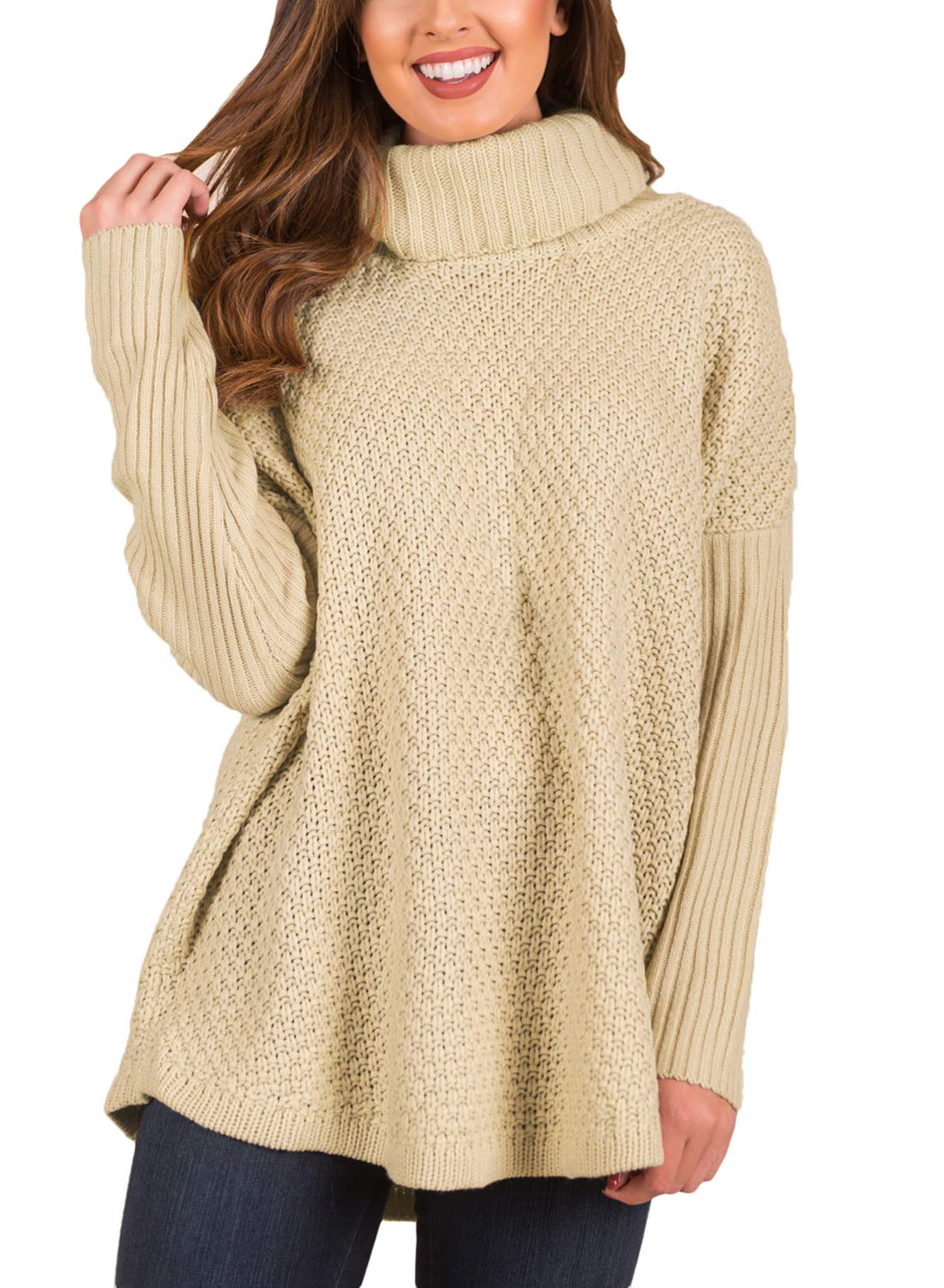 ACKKIA Women's Casual Turtleneck Batwing Long Sleeve Rib Knit Pullover Sweater Champagne Size M
