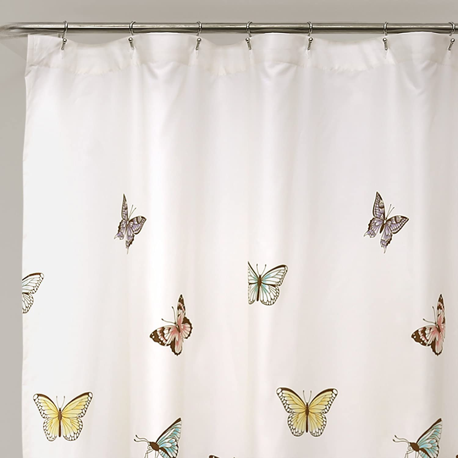 Butterfly Pink With Hook Shower Curtain Brand New Gift