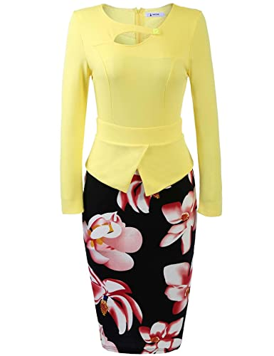 ANGVNS Women's Elegant Formal Chic Bodycon Dress Floral Print Business Work Bodycon Pencil Dress