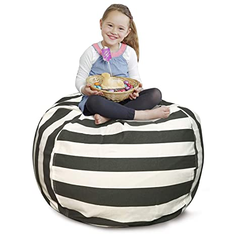 Fabulous Cala Stuffed Animal Storage Bean Bag Chair Extra Large 38 Kids Soft Toy Storage 100 Cotton Canvasgrey White Striped Camellatalisay Diy Chair Ideas Camellatalisaycom