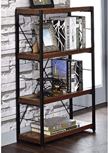RAYKUNRONG Bookshelf in Weathered,3-Tier Open Shelf Bookcase for Home Office Storage, Oak & Black
