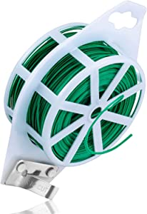 Rainbow Color 328 Feet (100m) Garden Plant Twist Tie with Cutter, Tie Wire Reel for Home and Office, Multifunctional Twist Ties (Green)