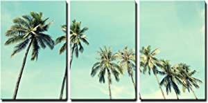 """3 Piece Canvas Wall Art - Vintage Photo of Seaside Palm Trees - Home Art Ready to Hang - 16""""x24"""""""