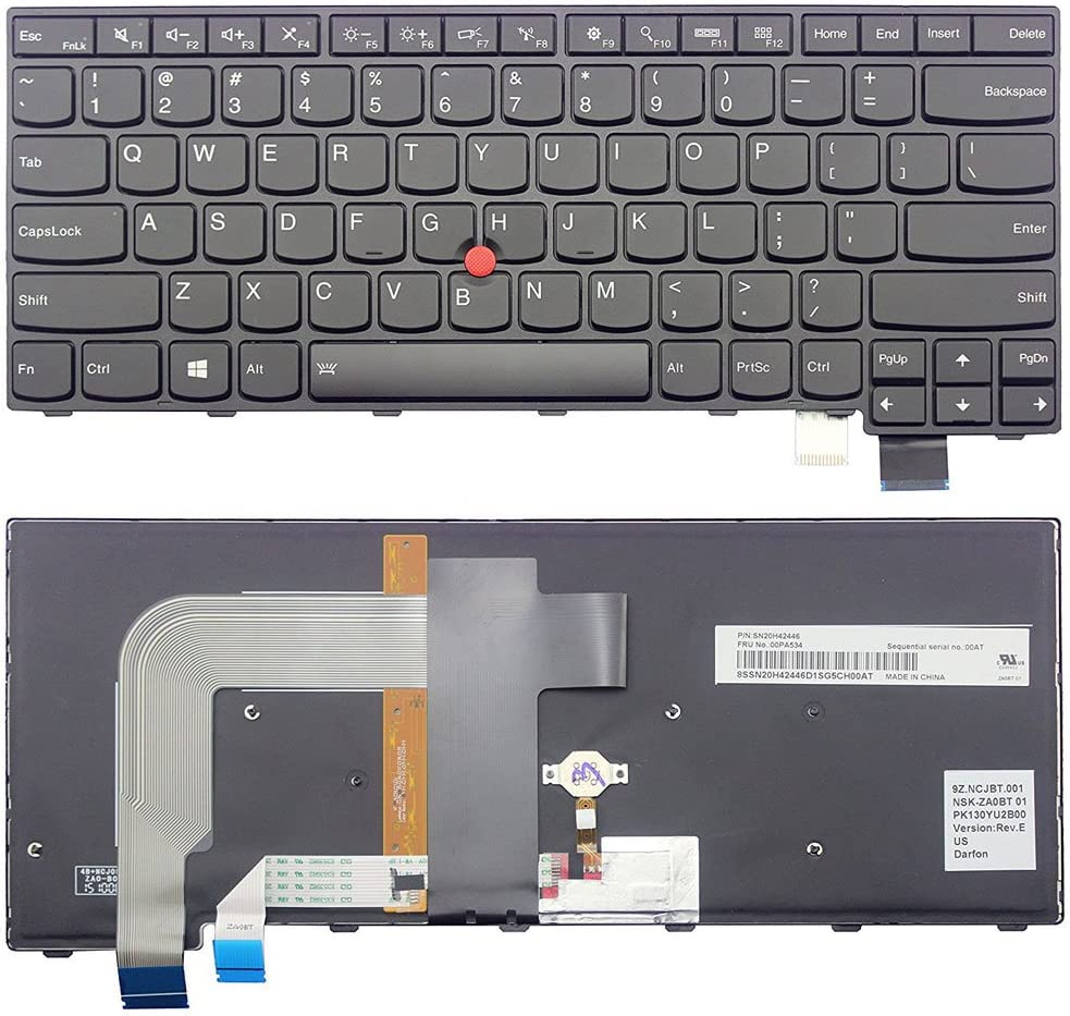 New US Backlit Keyboard Replacement for Lenovo Thinkpad T470s 00PA452 00PA482 Laptop English Keyboard Light Backlight