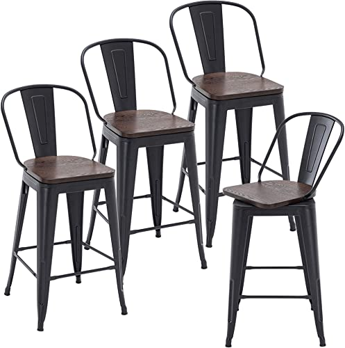 Andeworld 30 Inch Swivel Bar Stools High Back Dining Bar Chairs Counter Height Stool