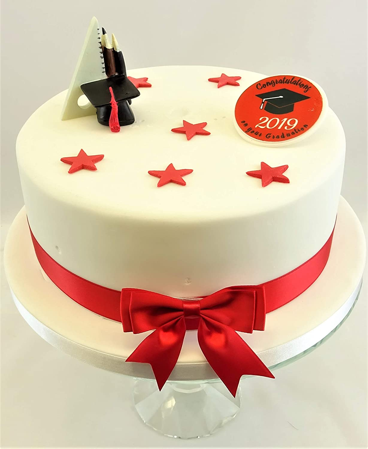 GRADUATION RED PERSONALISED 7.5 INCH PRECUT EDIBLE CAKE TOPPER DECORATION