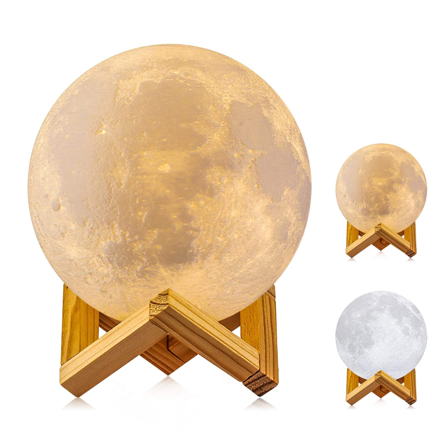 Moon Lamp, 3D Printing LED Night Light Lunar Moon Light with Stand and Warm & Cool Two White Colors and Touch Control Brightness & USB Rechargeable for Baby Kids Lover Gifts(Diameter 4.7 inch)