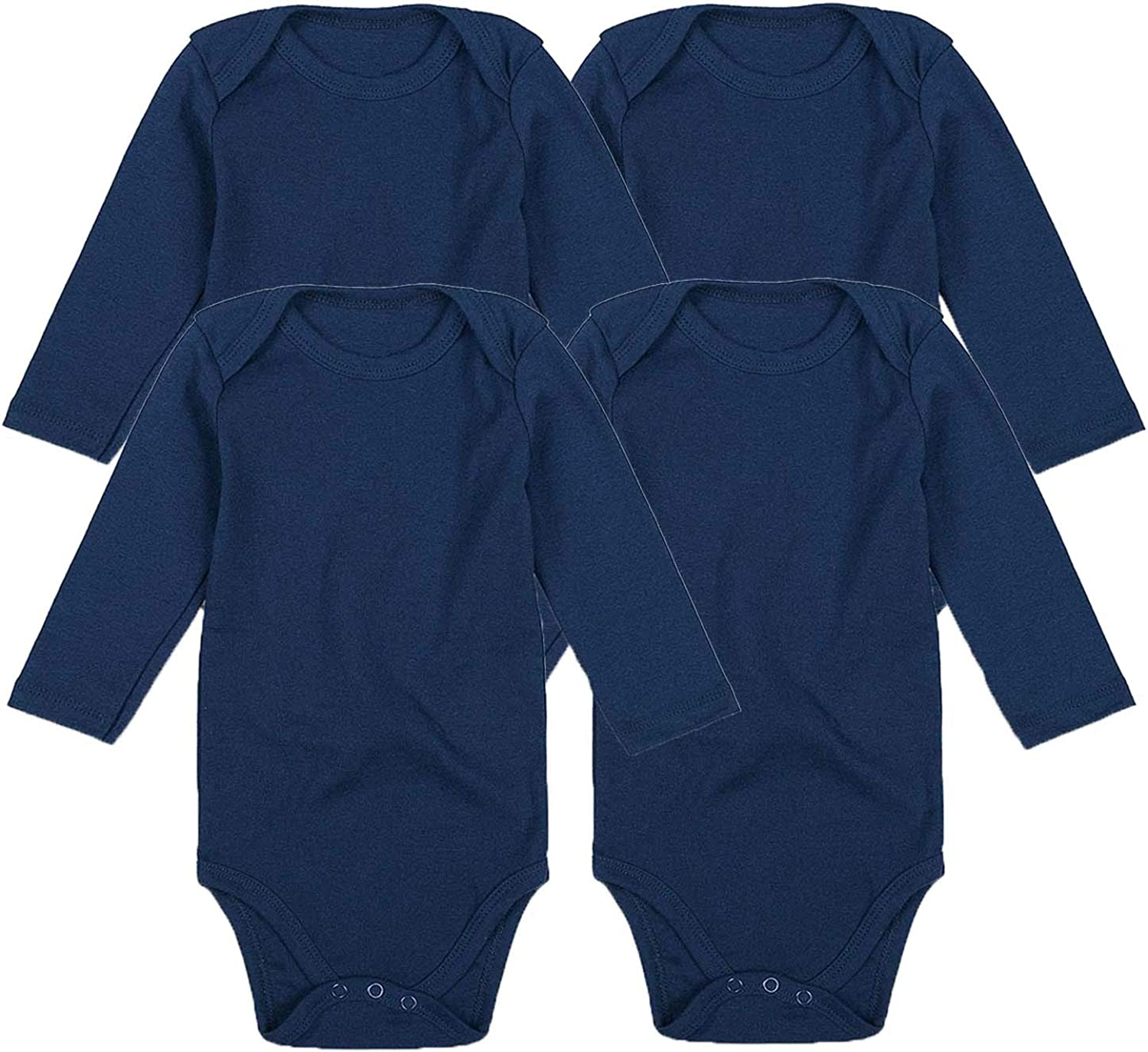 Lizerlly 4-Pack Blue Solid Color Baby Bodysuit Long Sleeve Infant Rompers Climbing Suit