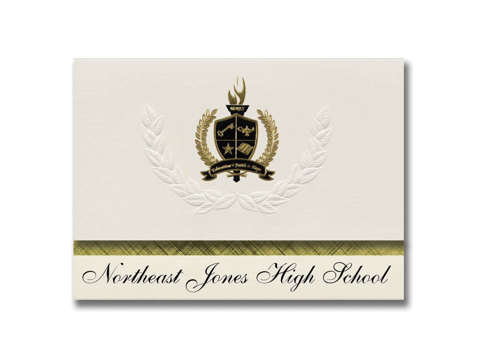 Signature Announcements Northeast Jones High School (Laurel, MS) Graduation Announcements, Presidential style, Elite package of 25 with Gold & Black Metallic Foil seal