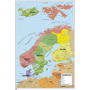 Close Up Karte Von Skandinavien Poster Map Of Scandinavia 61cm X
