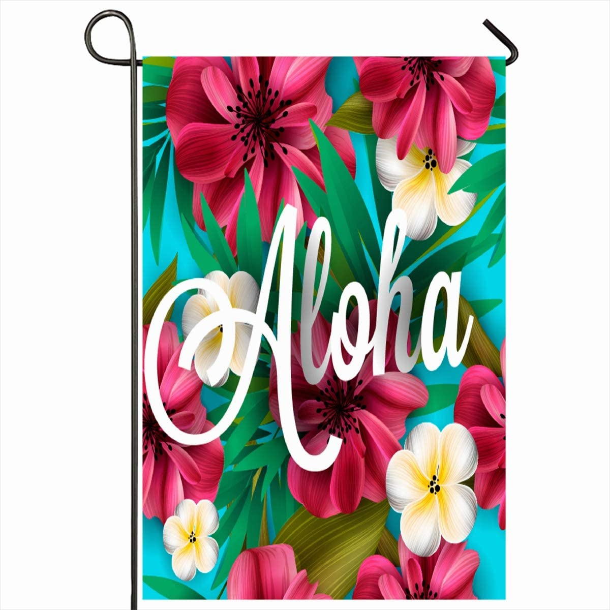 """Ahawoso Outdoor Garden Flags 12""""x18"""" Inch Orchid Party Aloha Hawaii Hand Lettering Hibiscus Pink Label Hawaiian Nature Luau Flower Lilly Beach Vertical Double Sided Home Decorative House Yard Sign"""