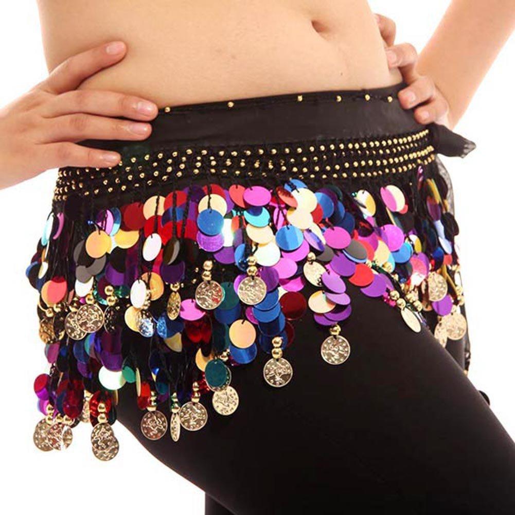 BOBORA Fianchi sciarpa gonna in Chiffon Wrap moneta d'oro in vita cintura danza del ventre BON-IT-0228Y